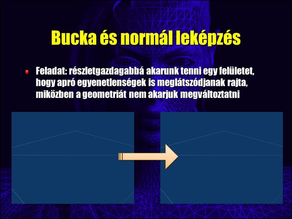 Bucka és normál leképzés Feladat: részletgazdagabbá akarunk tenni egy felületet, hogy apró egyenetlenségek is meglátszódjanak rajta, miközben a geomet