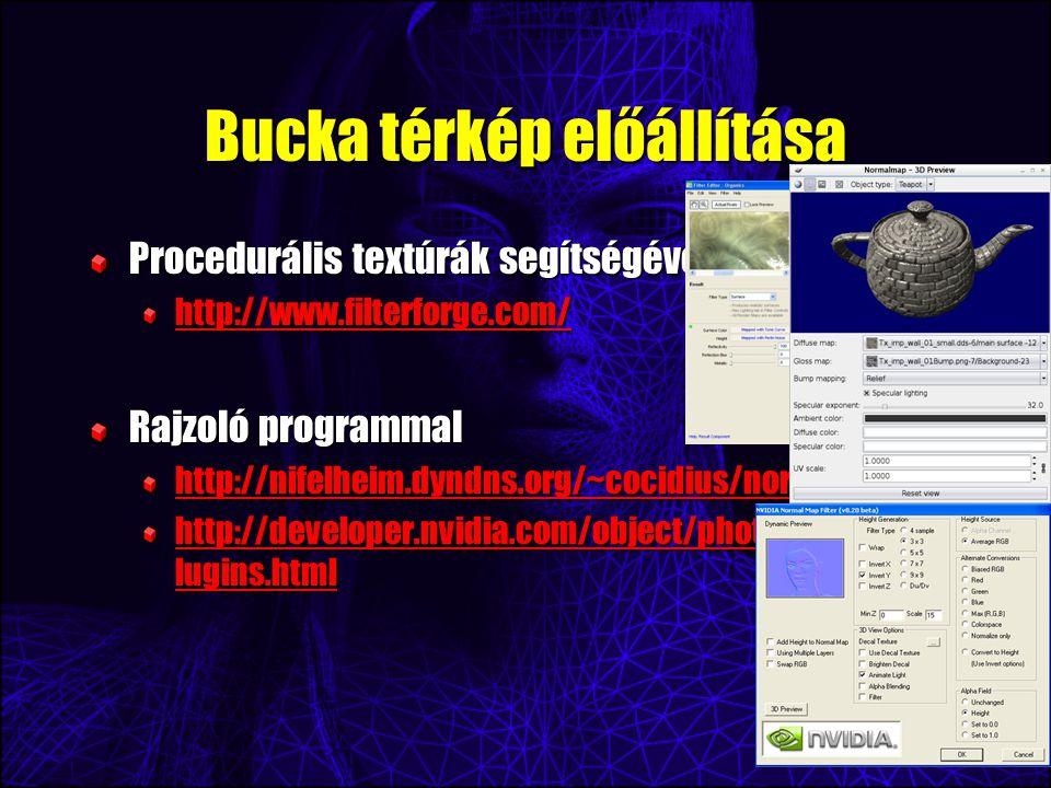 Bucka térkép előállítása Procedurális textúrák segítségével http://www.filterforge.com/ Rajzoló programmal http://nifelheim.dyndns.org/~cocidius/norma