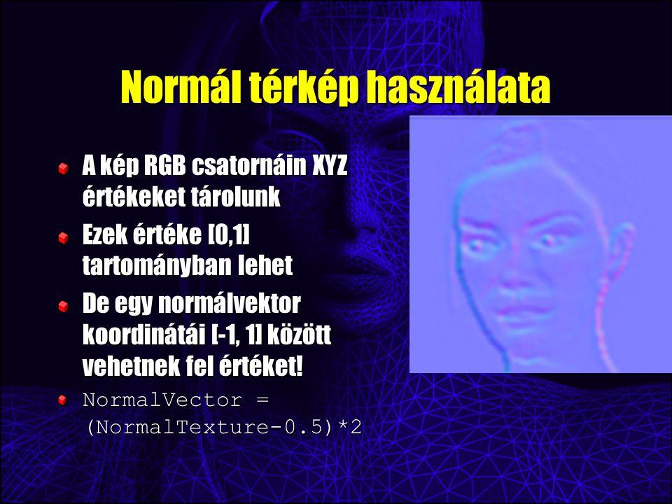 Normál térkép használata A kép RGB csatornáin XYZ értékeket tárolunk Ezek értéke [0,1] tartományban lehet De egy normálvektor koordinátái [-1, 1] közö