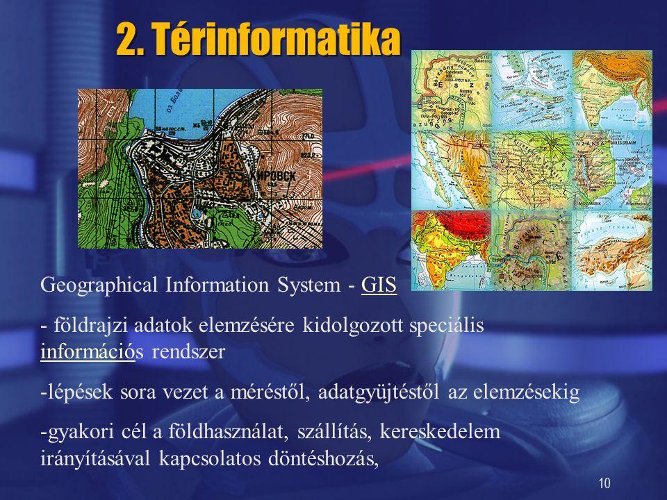10 2. Térinformatika Geographical Information System - GISGIS - földrajzi adatok elemzésére kidolgozott speciális információs rendszer információ -lép