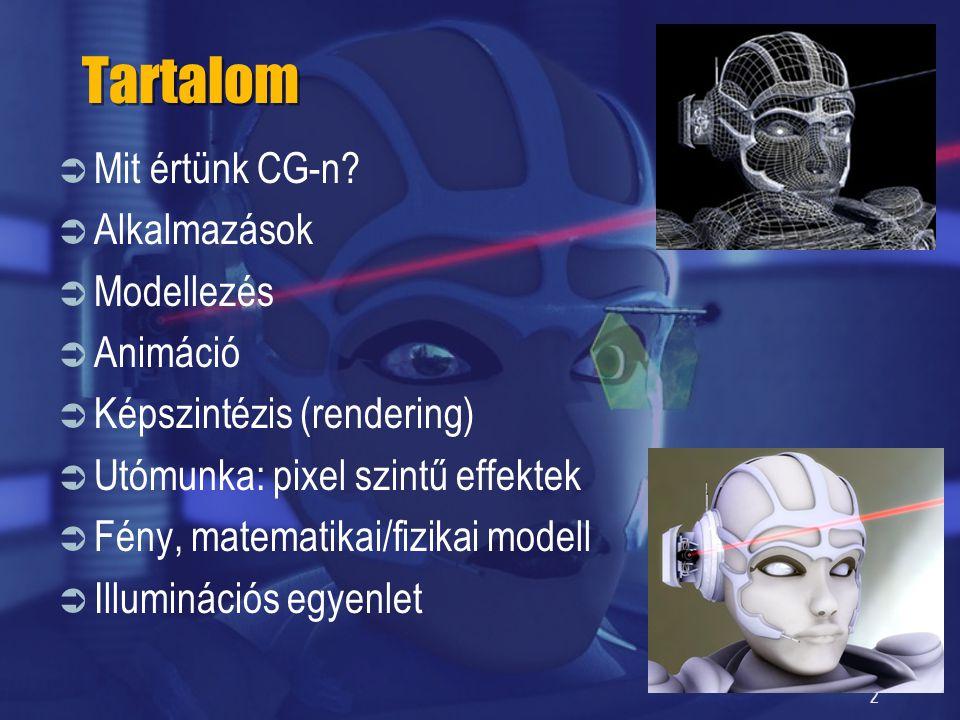 2 Tartalom  Mit értünk CG-n?  Alkalmazások  Modellezés  Animáció  Képszintézis (rendering)  Utómunka: pixel szintű effektek  Fény, matematikai/