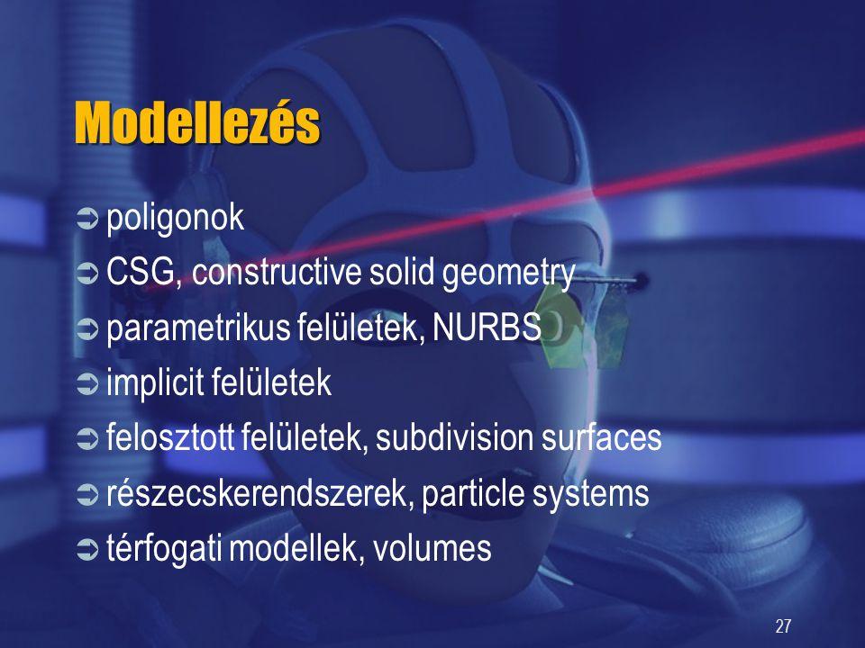 27 Modellezés  poligonok  CSG, constructive solid geometry  parametrikus felületek, NURBS  implicit felületek  felosztott felületek, subdivision