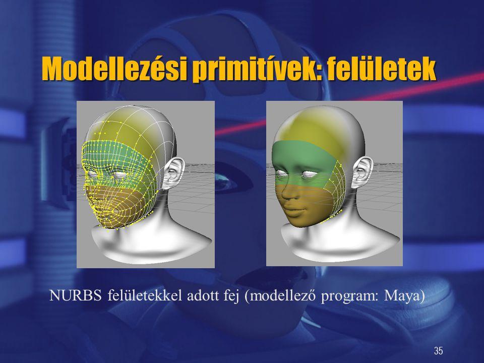35 Modellezési primitívek: felületek NURBS felületekkel adott fej (modellező program: Maya)
