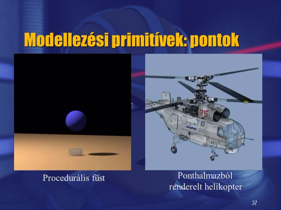 37 Modellezési primitívek: pontok Procedurális füst Ponthalmazból renderelt helikopter