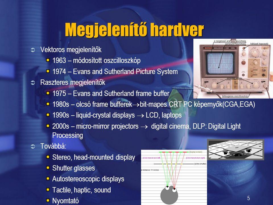 5 Megjelenítő hardver  Vektoros megjelenítők 1963 – módosított oszcilloszkóp 1974 – Evans and Sutherland Picture System  Raszteres megjelenítők 1975