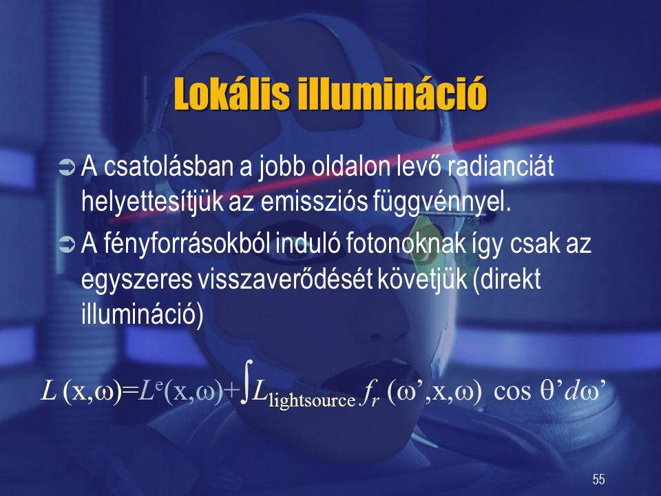 55 Lokális illumináció  A csatolásban a jobb oldalon levő radianciát helyettesítjük az emissziós függvénnyel.  A fényforrásokból induló fotonoknak í
