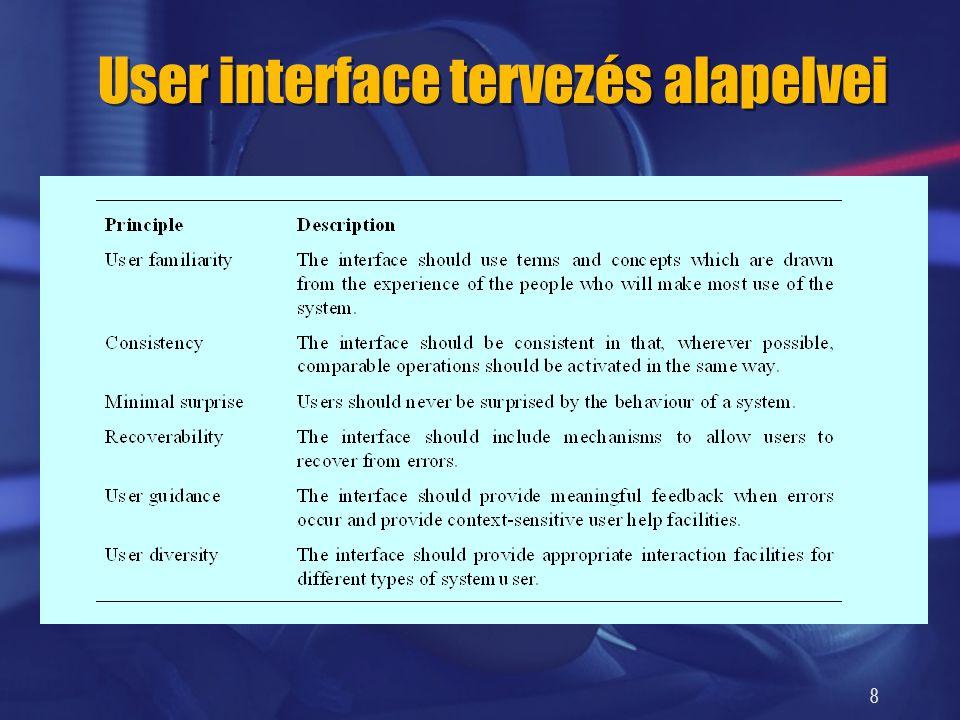 8 User interface tervezés alapelvei