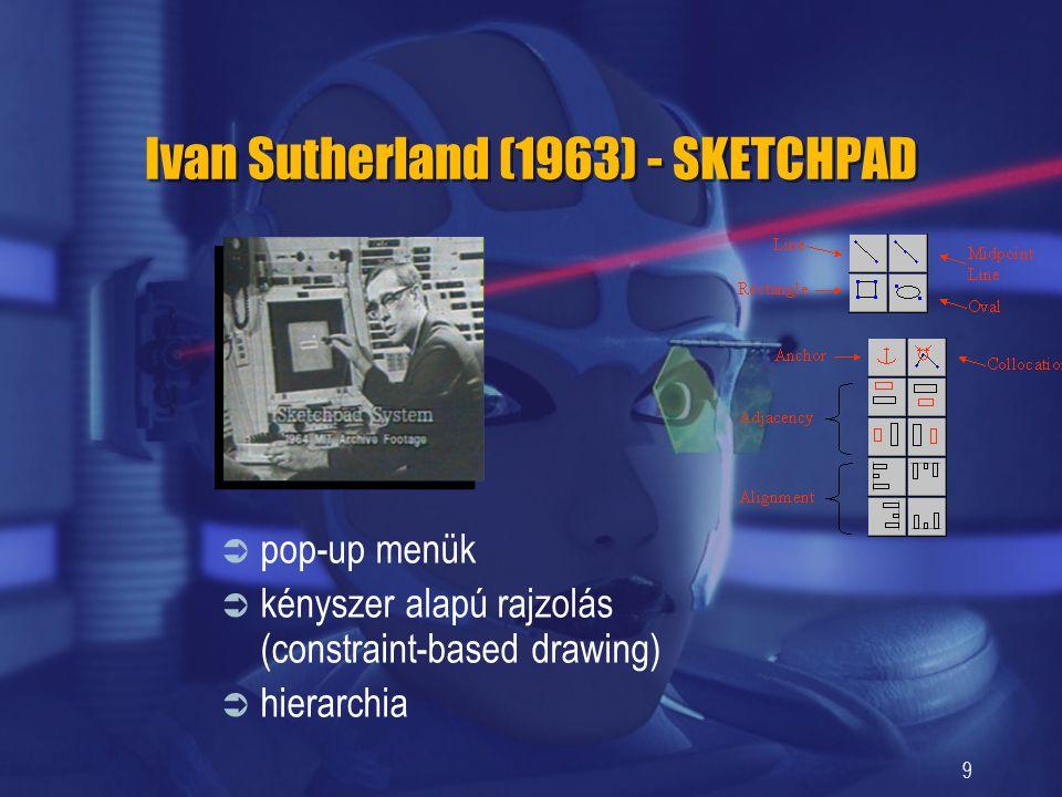 9 Ivan Sutherland (1963) - SKETCHPAD  pop-up menük  kényszer alapú rajzolás (constraint-based drawing)  hierarchia