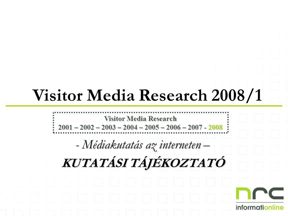 Visitor Media Research 2008/1 Visitor Media Research 2001 – 2002 – 2003 – 2004 – 2005 – 2006 – 2007 - 2008 - Médiakutatás az interneten – KUTATÁSI TÁJÉKOZTATÓ