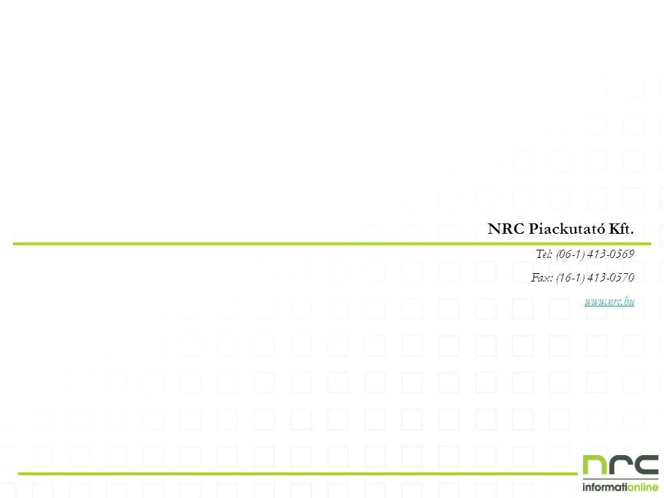 NRC Piackutató Kft. Tel: (06-1) 413-0569 Fax: (16-1) 413-0570 www.nrc.hu