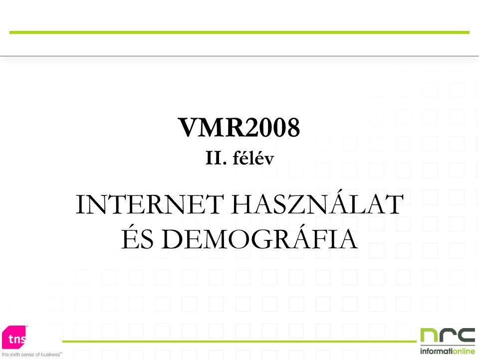 VMR2008 II. félév INTERNET HASZNÁLAT ÉS DEMOGRÁFIA