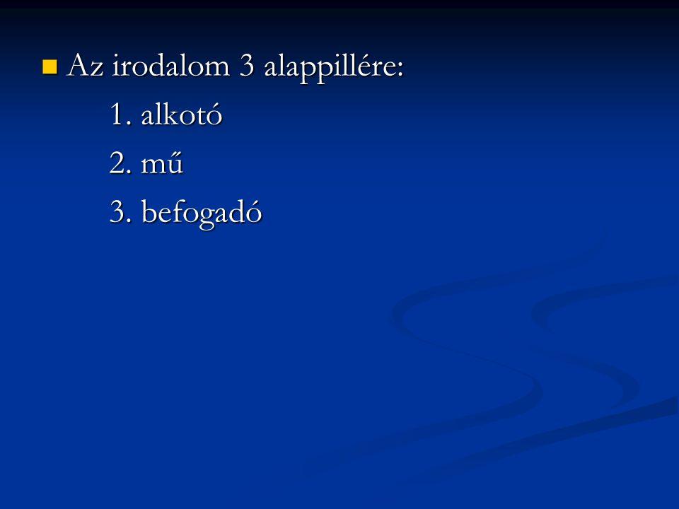 Az irodalom 3 alappillére: Az irodalom 3 alappillére: 1. alkotó 2. mű 3. befogadó
