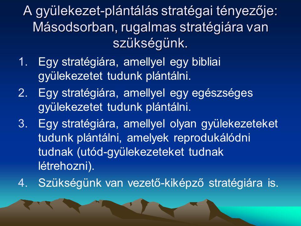 A gyülekezet-plántálás stratégai tényezője: Másodsorban, rugalmas stratégiára van szükségünk. 1.Egy stratégiára, amellyel egy bibliai gyülekezetet tud