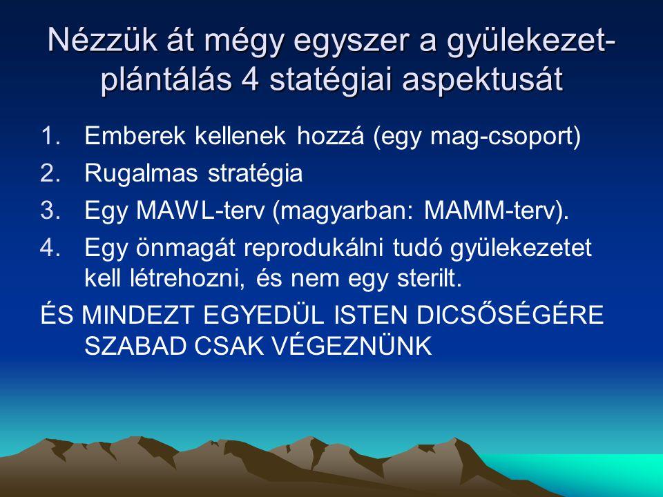 Nézzük át mégy egyszer a gyülekezet- plántálás 4 statégiai aspektusát 1.Emberek kellenek hozzá (egy mag-csoport) 2.Rugalmas stratégia 3.Egy MAWL-terv (magyarban: MAMM-terv).