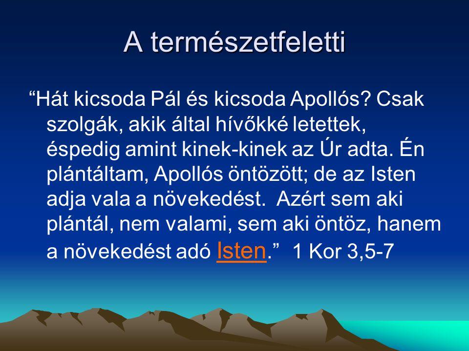 """A természetfeletti """"Hát kicsoda Pál és kicsoda Apollós? Csak szolgák, akik által hívőkké letettek, éspedig amint kinek-kinek az Úr adta. Én plántáltam"""
