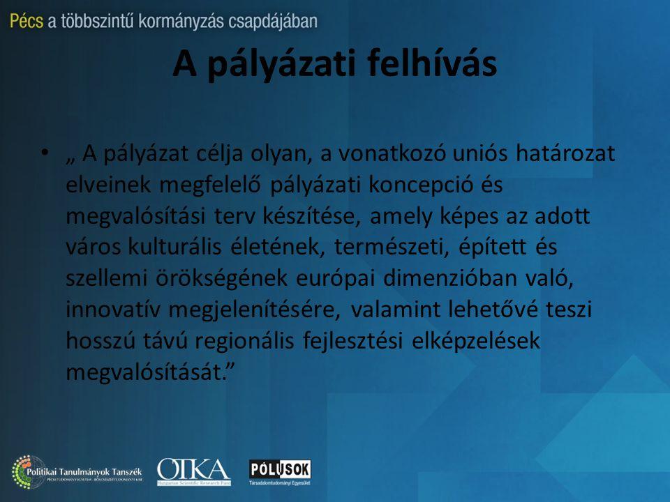 """A pályázati felhívás """" A pályázat célja olyan, a vonatkozó uniós határozat elveinek megfelelő pályázati koncepció és megvalósítási terv készítése, amely képes az adott város kulturális életének, természeti, épített és szellemi örökségének európai dimenzióban való, innovatív megjelenítésére, valamint lehetővé teszi hosszú távú regionális fejlesztési elképzelések megvalósítását."""