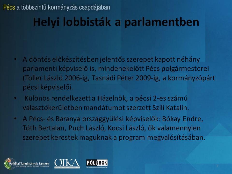 Helyi lobbisták a parlamentben A döntés előkészítésben jelentős szerepet kapott néhány parlamenti képviselő is, mindenekelőtt Pécs polgármesterei (Toller László 2006-ig, Tasnádi Péter 2009-ig, a kormányzópárt pécsi képviselői.