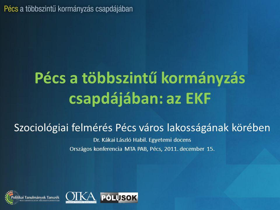 Pécs a többszintű kormányzás csapdájában: az EKF Szociológiai felmérés Pécs város lakosságának körében Dr.