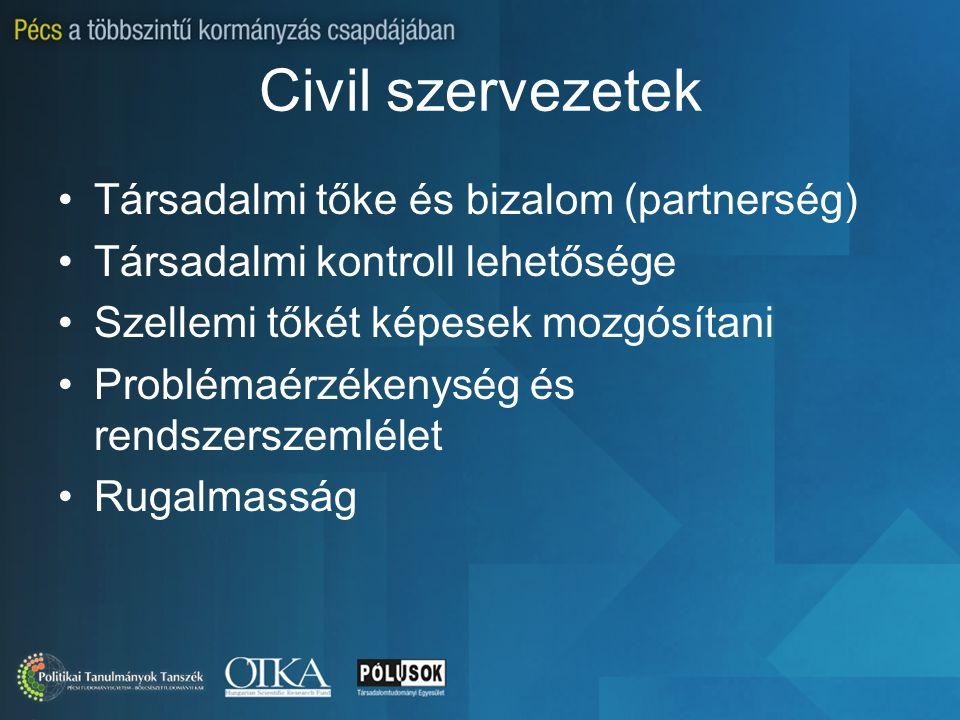 Civil szervezetek Társadalmi tőke és bizalom (partnerség) Társadalmi kontroll lehetősége Szellemi tőkét képesek mozgósítani Problémaérzékenység és ren