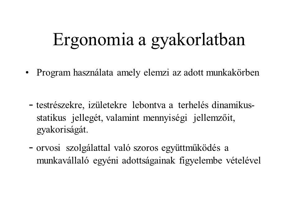 Ergonomia a gyakorlatban Program használata amely elemzi az adott munkakörben - testrészekre, izületekre lebontva a terhelés dinamikus- statikus jelle