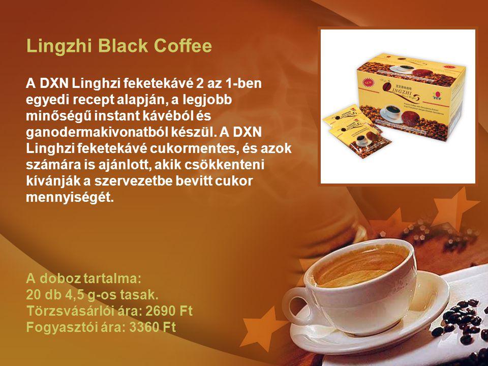 Lingzhi Black Coffee A DXN Linghzi feketekávé 2 az 1-ben egyedi recept alapján, a legjobb minőségű instant kávéból és ganodermakivonatból készül. A DX