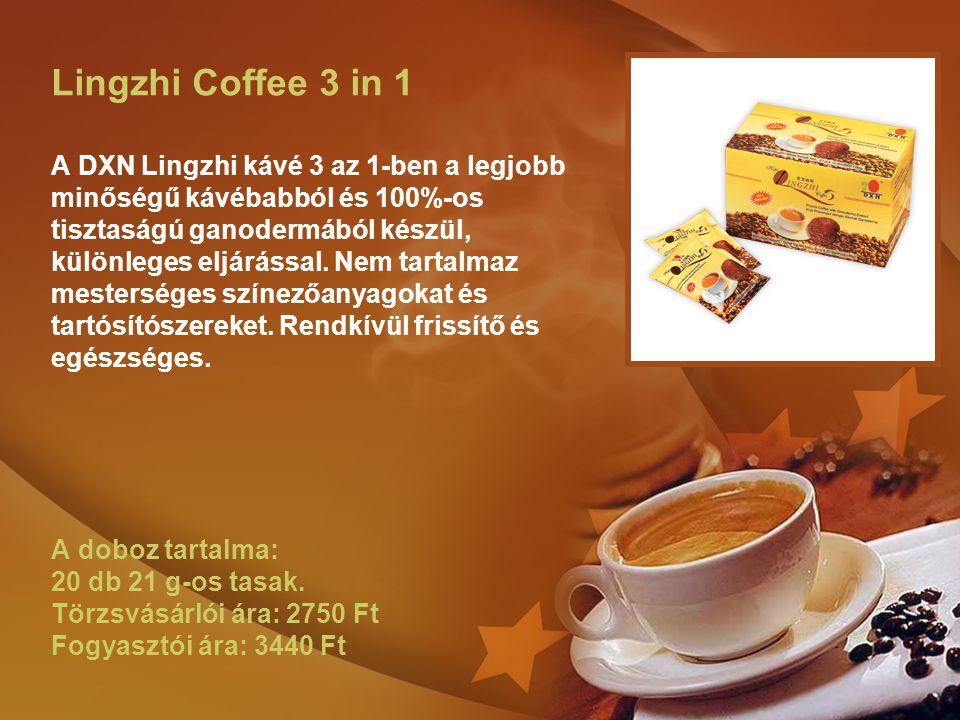 Lingzhi Coffee 3 in 1 A DXN Lingzhi kávé 3 az 1-ben a legjobb minőségű kávébabból és 100%-os tisztaságú ganodermából készül, különleges eljárással. Ne