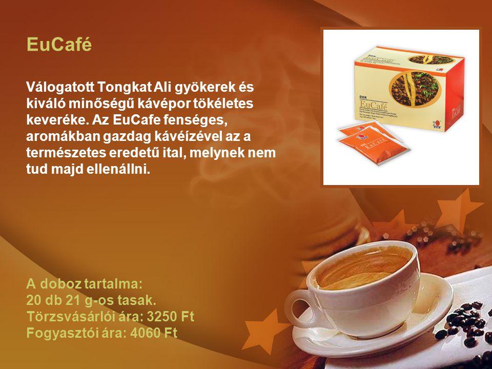 EuCafé Válogatott Tongkat Ali gyökerek és kiváló minőségű kávépor tökéletes keveréke. Az EuCafe fenséges, aromákban gazdag kávéízével az a természetes