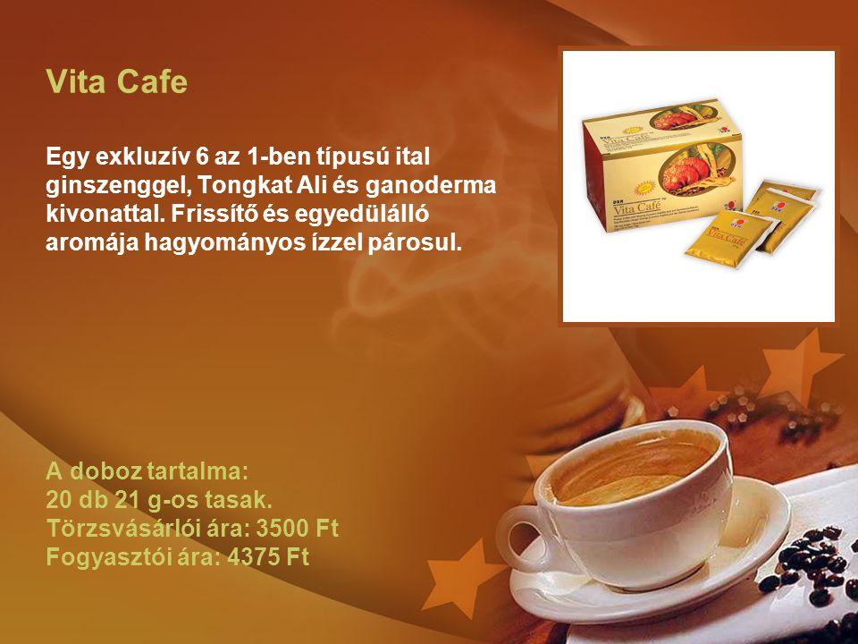 Vita Cafe Egy exkluzív 6 az 1-ben típusú ital ginszenggel, Tongkat Ali és ganoderma kivonattal. Frissítő és egyedülálló aromája hagyományos ízzel páro