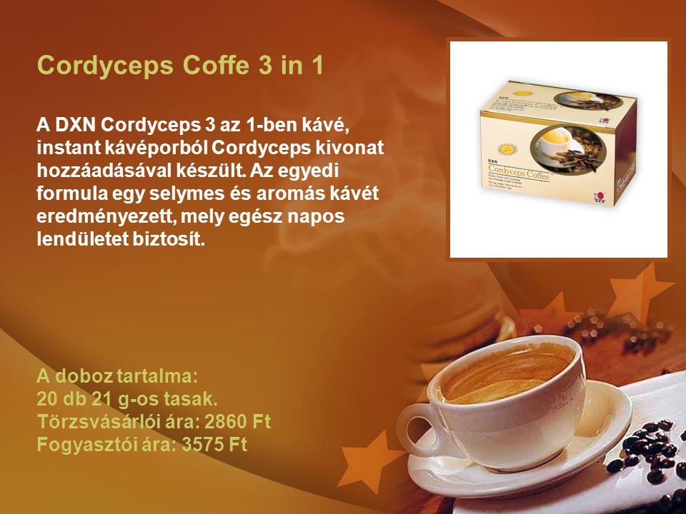 Cordyceps Coffe 3 in 1 A DXN Cordyceps 3 az 1-ben kávé, instant kávéporból Cordyceps kivonat hozzáadásával készült. Az egyedi formula egy selymes és a