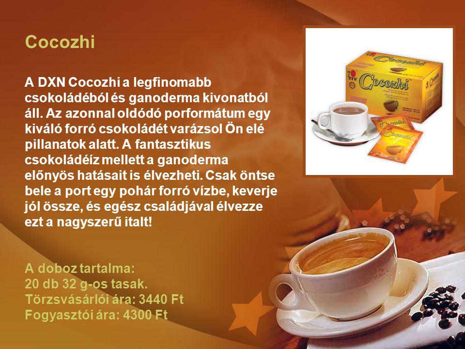 Cocozhi A DXN Cocozhi a legfinomabb csokoládéból és ganoderma kivonatból áll. Az azonnal oldódó porformátum egy kiváló forró csokoládét varázsol Ön el