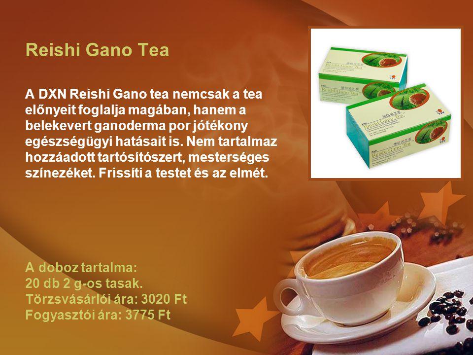 Reishi Gano Tea A DXN Reishi Gano tea nemcsak a tea előnyeit foglalja magában, hanem a belekevert ganoderma por jótékony egészségügyi hatásait is. Nem
