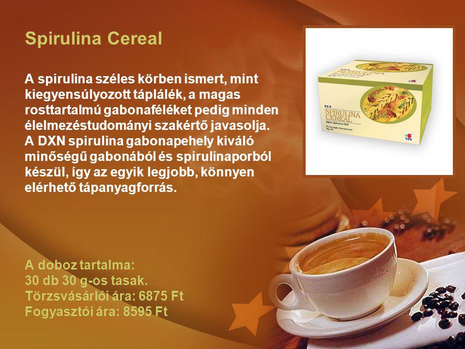 Spirulina Cereal A spirulina széles körben ismert, mint kiegyensúlyozott táplálék, a magas rosttartalmú gabonaféléket pedig minden élelmezéstudományi