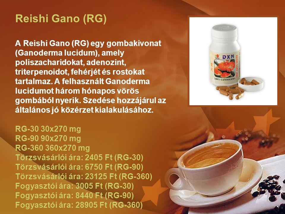 Reishi Gano (RG) A Reishi Gano (RG) egy gombakivonat (Ganoderma lucidum), amely poliszacharidokat, adenozint, triterpenoidot, fehérjét és rostokat tar