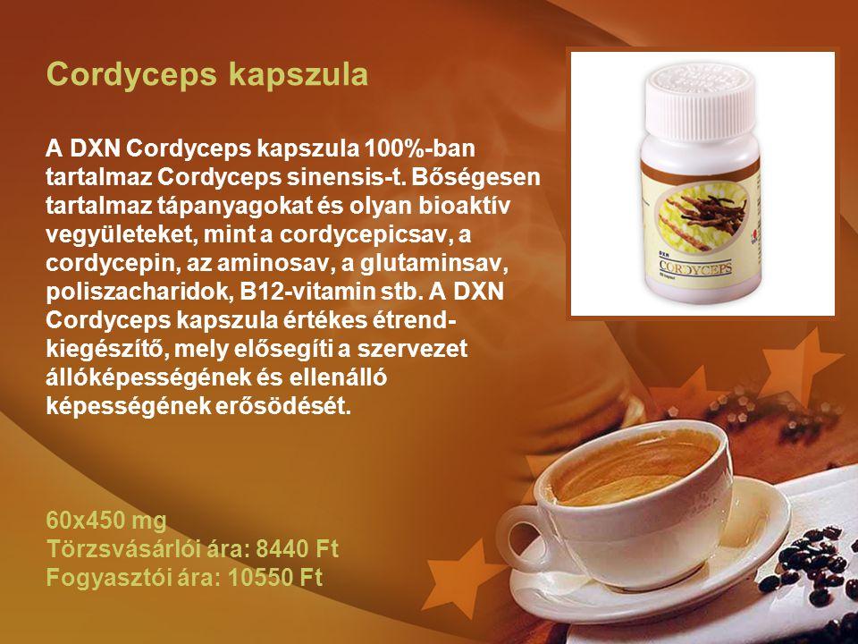 Cordyceps kapszula A DXN Cordyceps kapszula 100%-ban tartalmaz Cordyceps sinensis-t. Bőségesen tartalmaz tápanyagokat és olyan bioaktív vegyületeket,