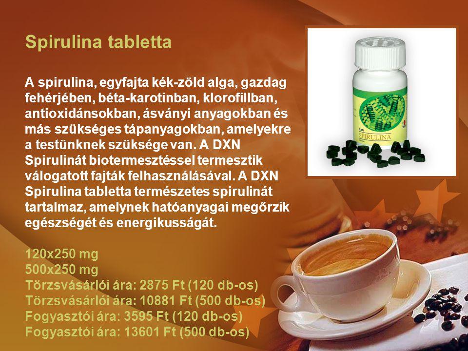 Spirulina tabletta A spirulina, egyfajta kék-zöld alga, gazdag fehérjében, béta-karotinban, klorofillban, antioxidánsokban, ásványi anyagokban és más