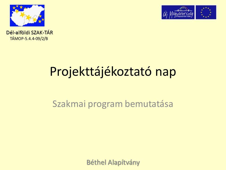 Dél-alföldi SZAK-TÁR Dél-alföldi SZAK-TÁR TÁMOP-5.4.4-09/2/B TÁMOP-5.4.4-09/2/B Előzmények A Béthel Alapítvány sikeres pályázati dokumentációt nyújtott be a Szociális képzések fejlesztése, szakemberek képzése, továbbképzése és készségfejlesztése valamint a helyi fejlesztési kapacitások megerősítése kiírás B komponensére (TAMOP -5.4.4-09/2/B) – B komponens kiírás célja a regionális szakmai támogató szolgáltatási rendszerek kialakítása, amely elősegíti a segítők személyiségfejlesztését, kompetenciáik erősítését, szakmai tudástáruk fejlesztését, kiégésük megelőzését.