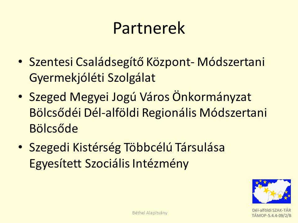 Dél-alföldi SZAK-TÁR Dél-alföldi SZAK-TÁR TÁMOP-5.4.4-09/2/B TÁMOP-5.4.4-09/2/B Projekt rövid ismertetése A Dél-alföldi Régió szociális, gyermekjóléti és gyermekvédelmi szakemberei munkájának hatékony ellátásának érdekében – regionális szakember adatbázis készül – szakmai támogató szolgáltatásokat nyújtó hálózat kerül kialakításra, illetve működtetésre – igényfelmérés és egyéni kérések alapján szakmai támogató szolgáltatások nyújtására kerül sor: Béthel Alapítvány