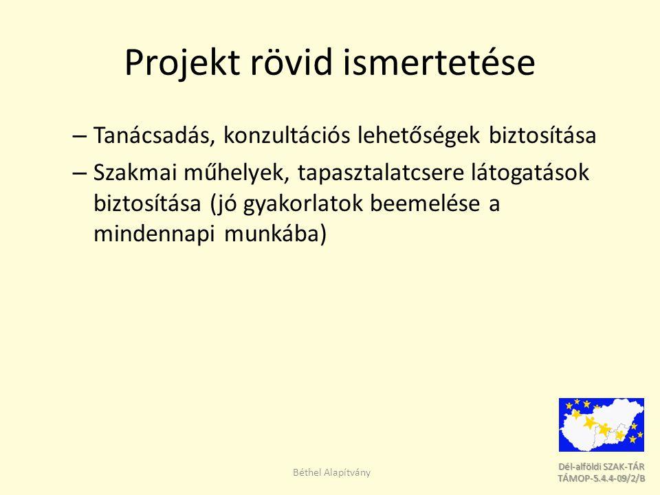 Dél-alföldi SZAK-TÁR Dél-alföldi SZAK-TÁR TÁMOP-5.4.4-09/2/B TÁMOP-5.4.4-09/2/B Projekt célja A projekt általános célja a régióban dolgozó szociális, gyermekjóléti és gyermekvédelmi szakemberek, illetve az e területeken tevékenykedő önkéntesek és laikusok ismereteinek, készségeinek és kompetenciáinak fejlesztése.