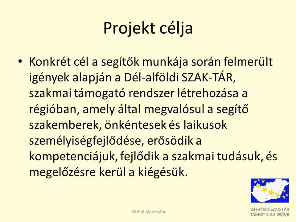 Dél-alföldi SZAK-TÁR Dél-alföldi SZAK-TÁR TÁMOP-5.4.4-09/2/B TÁMOP-5.4.4-09/2/B Projekt célja Konkrét cél a segítők munkája során felmerült igények alapján a Dél-alföldi SZAK-TÁR, szakmai támogató rendszer létrehozása a régióban, amely által megvalósul a segítő szakemberek, önkéntesek és laikusok személyiségfejlődése, erősödik a kompetenciájuk, fejlődik a szakmai tudásuk, és megelőzésre kerül a kiégésük.