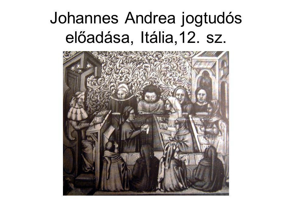 Johannes Andrea jogtudós előadása, Itália,12. sz.