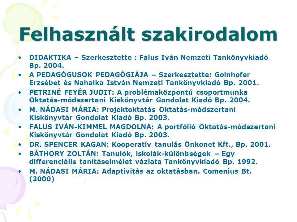 Felhasznált szakirodalom DIDAKTIKA – Szerkesztette : Falus Iván Nemzeti Tankönyvkiadó Bp. 2004. A PEDAGÓGUSOK PEDAGÓGIÁJA – Szerkesztette: Golnhofer E