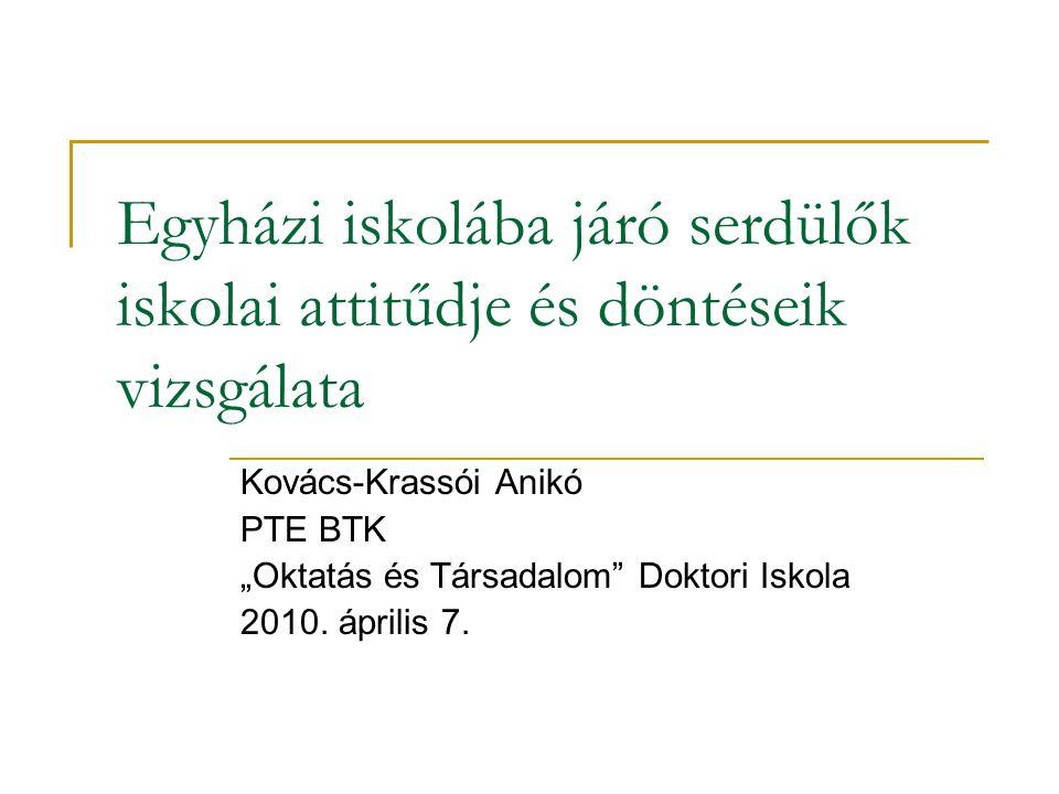 """Egyházi iskolába járó serdülők iskolai attitűdje és döntéseik vizsgálata Kovács-Krassói Anikó PTE BTK """"Oktatás és Társadalom"""" Doktori Iskola 2010. ápr"""
