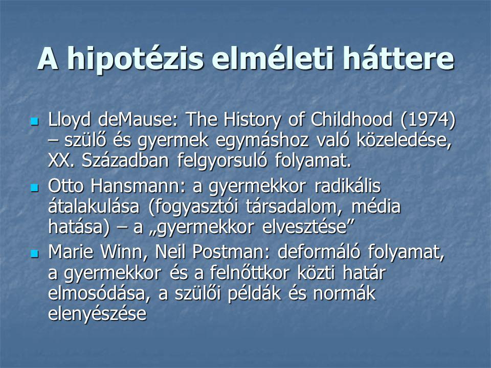 A hipotézis elméleti háttere Lloyd deMause: The History of Childhood (1974) – szülő és gyermek egymáshoz való közeledése, XX. Században felgyorsuló fo