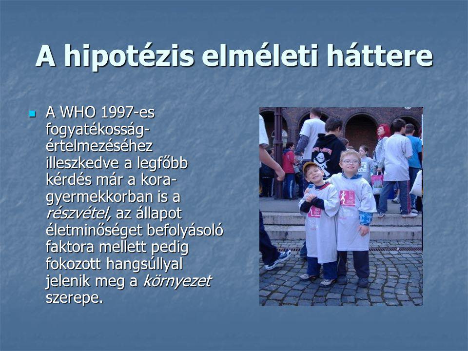 A hipotézis elméleti háttere A WHO 1997-es fogyatékosság- értelmezéséhez illeszkedve a legfőbb kérdés már a kora- gyermekkorban is a részvétel, az áll