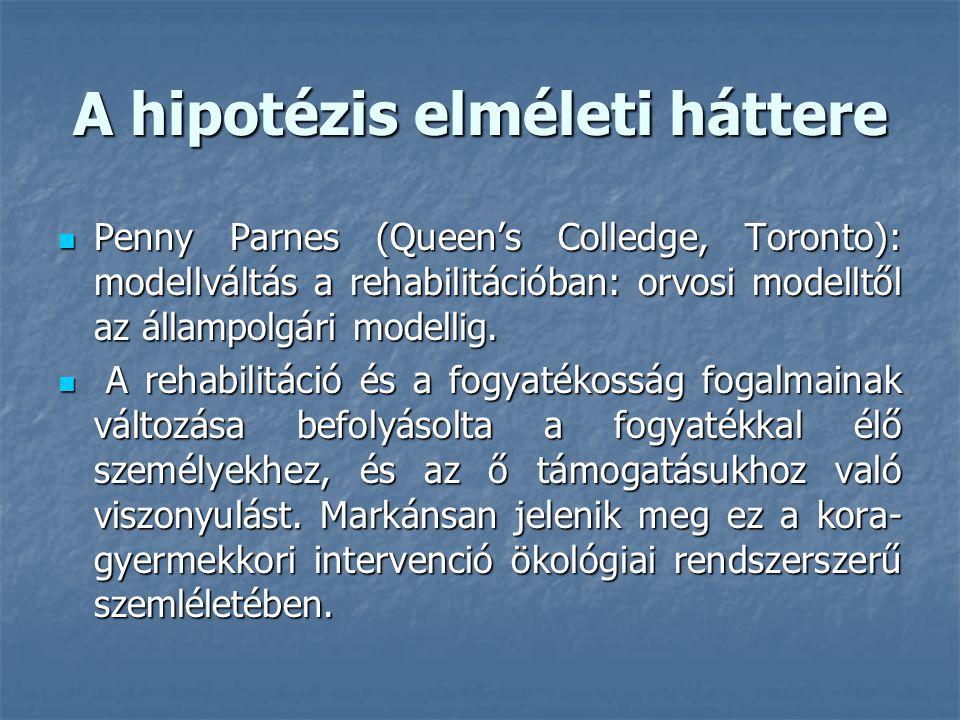 A hipotézis elméleti háttere Penny Parnes (Queen's Colledge, Toronto): modellváltás a rehabilitációban: orvosi modelltől az állampolgári modellig. Pen
