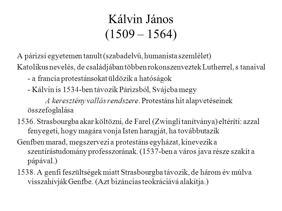 Kálvin János (1509 – 1564) A párizsi egyetemen tanult (szabadelvű, humanista szemlélet) Katolikus nevelés, de családjában többen rokonszenveztek Lutherrel, s tanaival - a francia protestánsokat üldözik a hatóságok - Kálvin is 1534-ben távozik Párizsból, Svájcba megy A keresztény vallás rendszere.