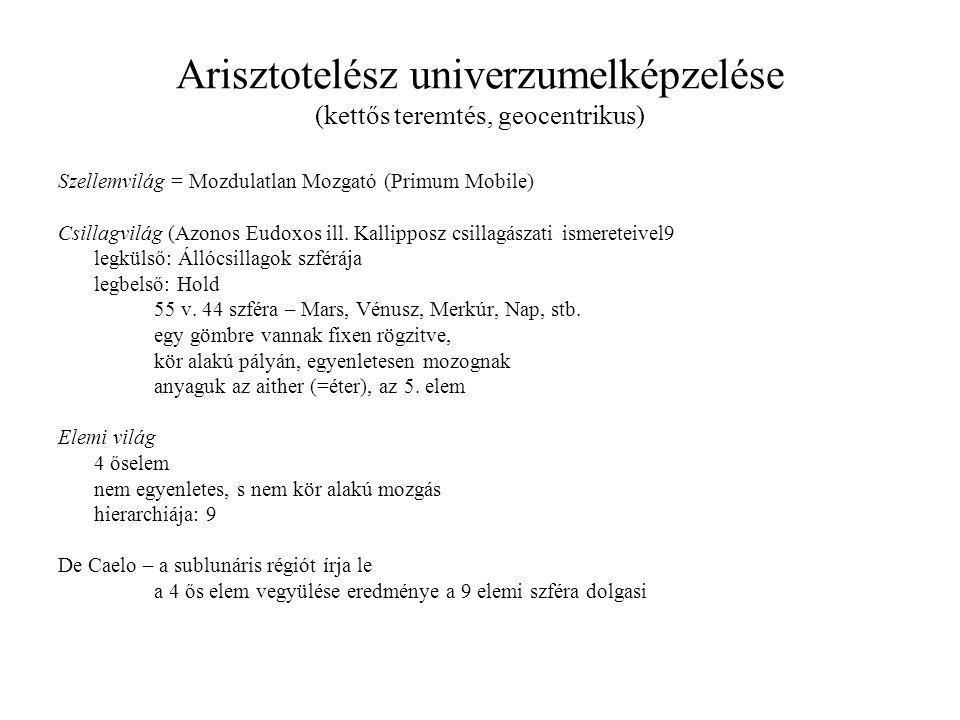 Arisztotelész univerzumelképzelése (kettős teremtés, geocentrikus) Szellemvilág = Mozdulatlan Mozgató (Primum Mobile) Csillagvilág (Azonos Eudoxos ill