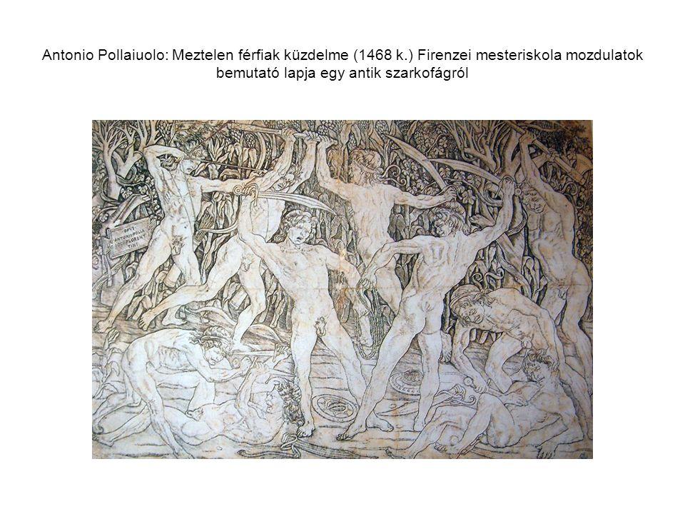 Antonio Pollaiuolo: Meztelen férfiak küzdelme (1468 k.) Firenzei mesteriskola mozdulatok bemutató lapja egy antik szarkofágról