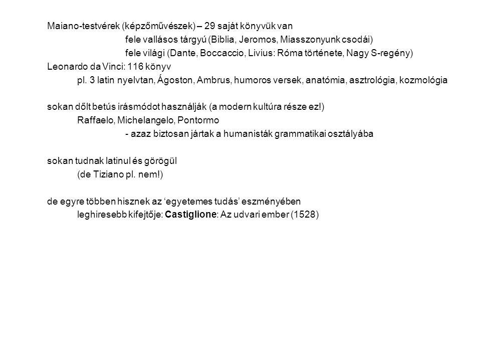 Maiano-testvérek (képzőművészek) – 29 saját könyvük van fele vallásos tárgyú (Biblia, Jeromos, Miasszonyunk csodái) fele világi (Dante, Boccaccio, Livius: Róma története, Nagy S-regény) Leonardo da Vinci: 116 könyv pl.