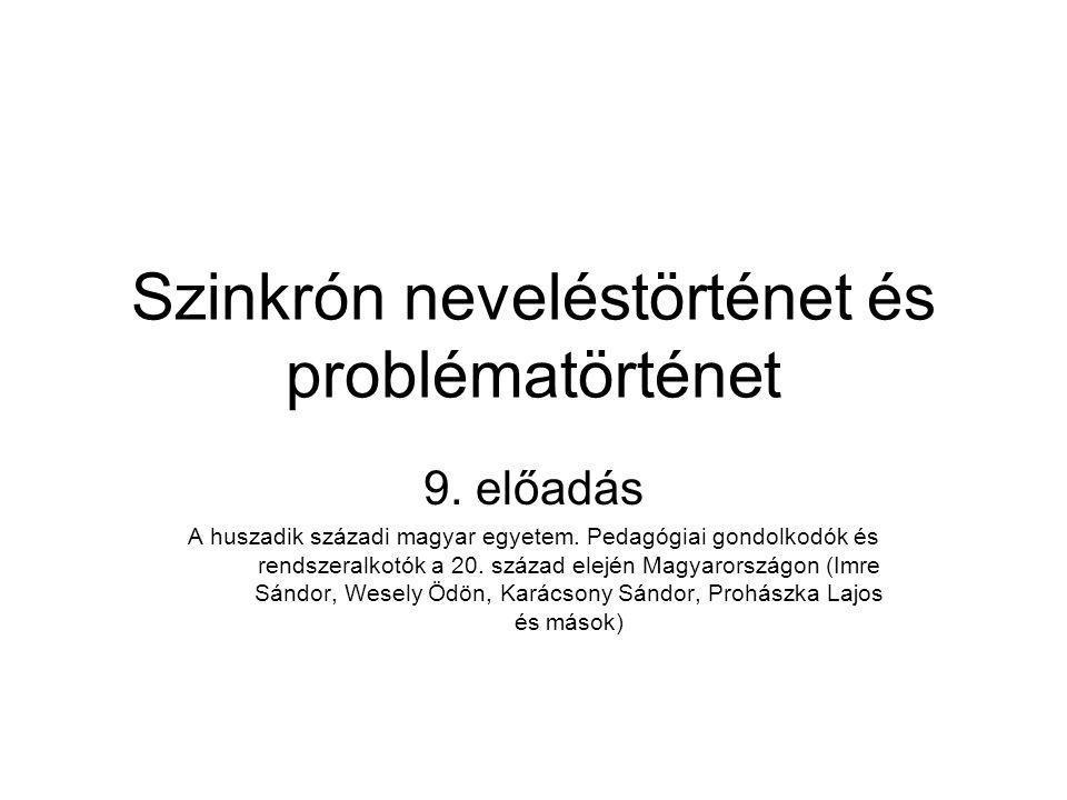 Szinkrón neveléstörténet és problématörténet 9. előadás A huszadik századi magyar egyetem. Pedagógiai gondolkodók és rendszeralkotók a 20. század elej